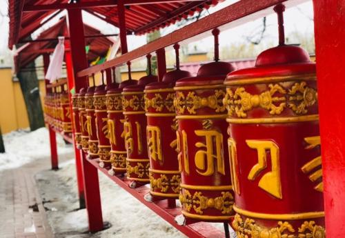 Prayer wheels - Buddhist monastery - Leh
